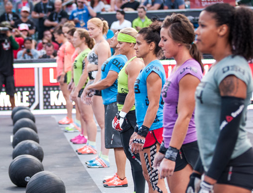 Top Female Athletes During the Meball/HSPU Event at the 2012 CrossFit Games (Image courtesy of CrossFit's Facebook Page)