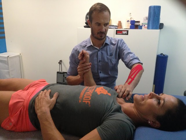 Amanda Allen treating tennis elbow 1