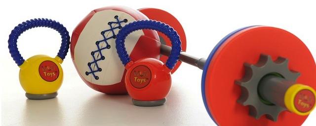 WOD Toys children's barebell, kettlebells and wall ball